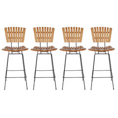 Wrought Iron and Slat Wood Bar Stools by Arthur Umanoff