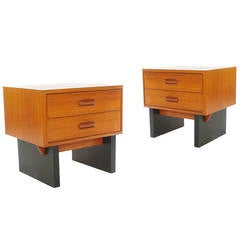 Matching Pair of Danish Modern Nightstands in Teak