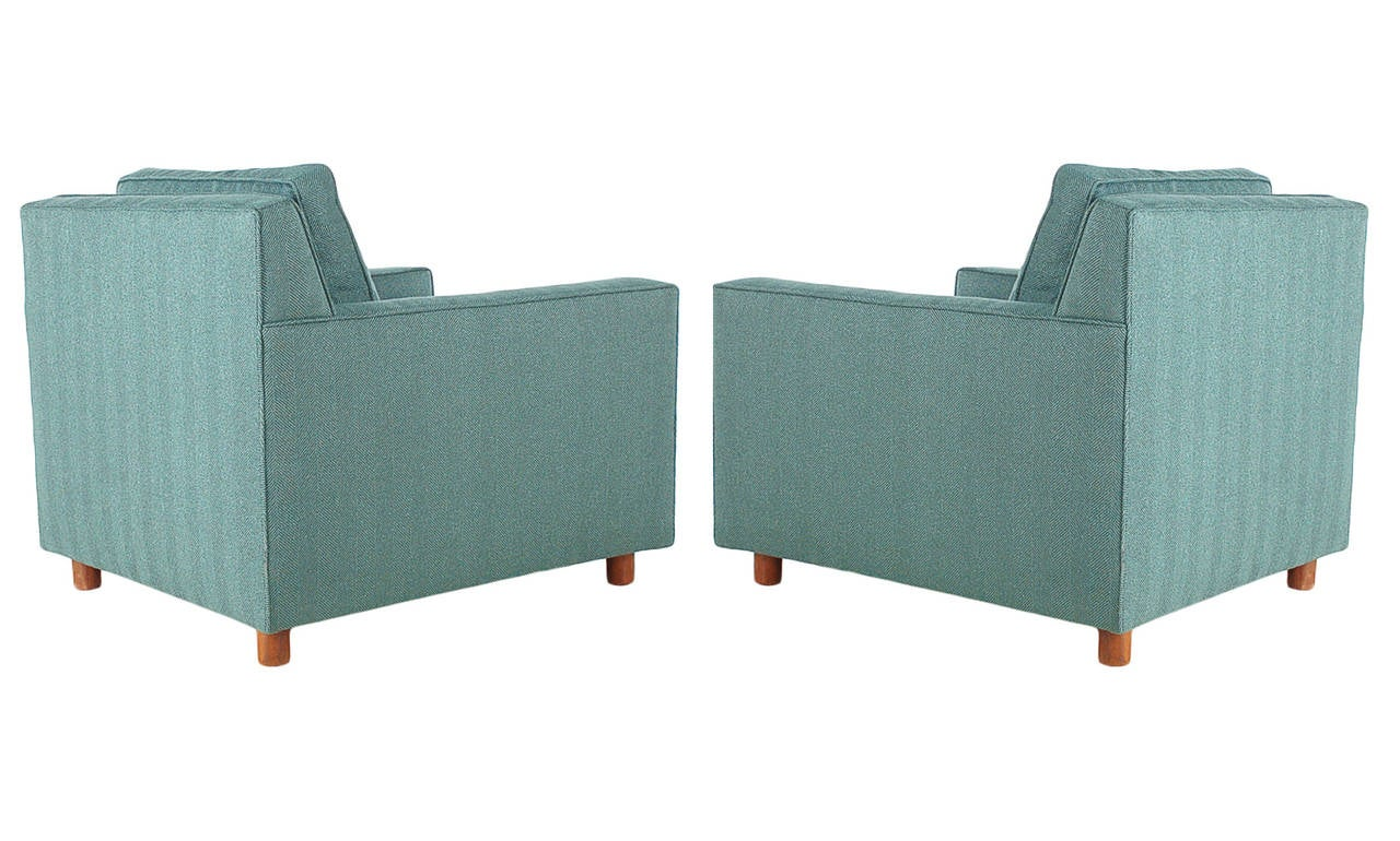 American Mid-Century Modern Cube or Case Club Lounge Chairs For Sale