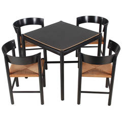 Fritz Hansen Card or Dining Table and Chairs by Moggens Lassen