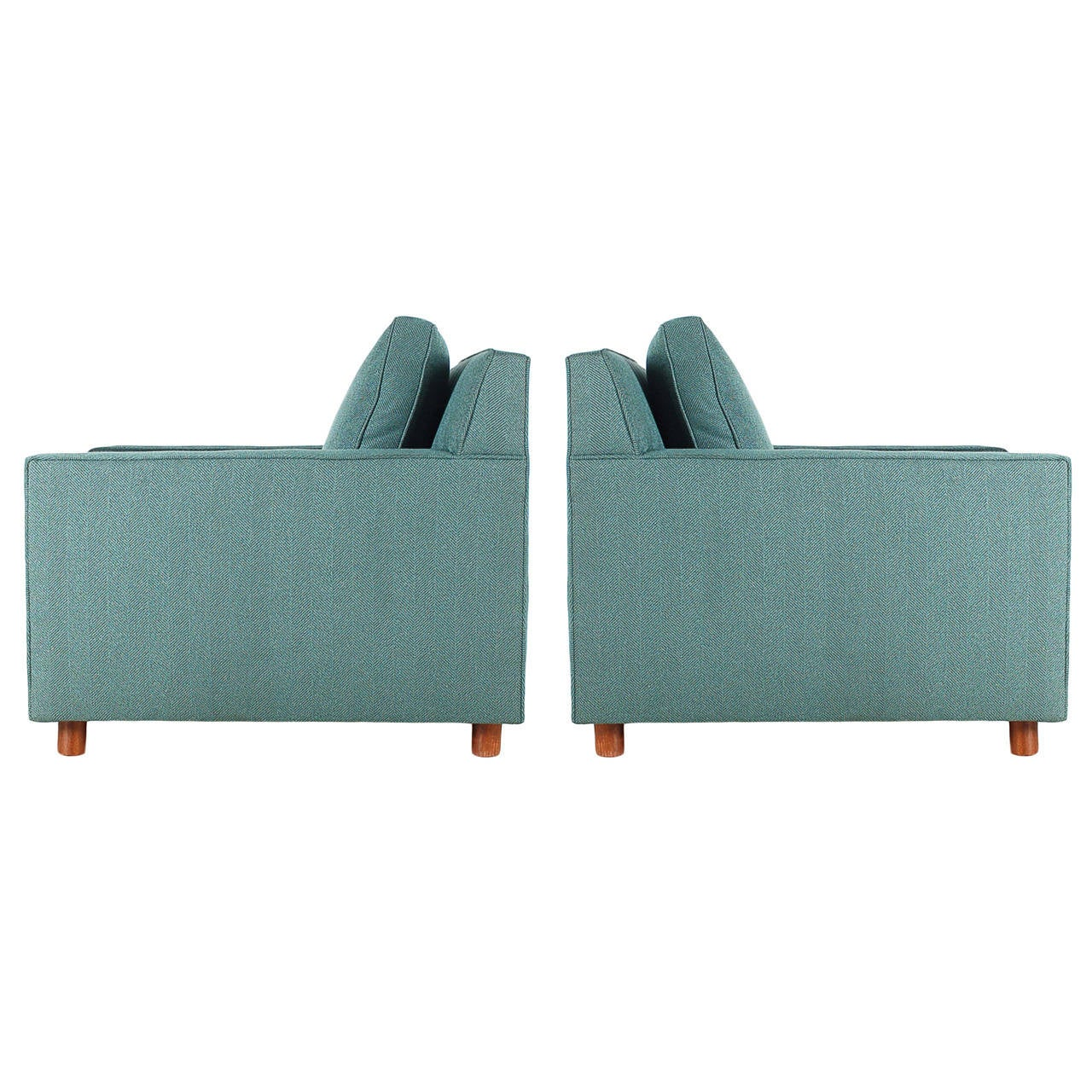 Mid-Century Modern Cube or Case Club Lounge Chairs For Sale