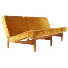Lewis Butler for Knoll Walnut and Maple Sofa after Jens Risom