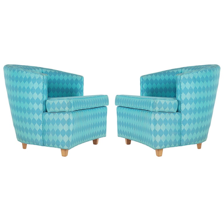 Pair of Matching Club Chairs in the Manner of Edward Wormley for Dunbar For Sale