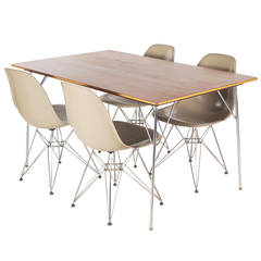 Eames Teak Dining Table 'DTM' and Eiffel Chairs 'DSR' Set for Herman Miller