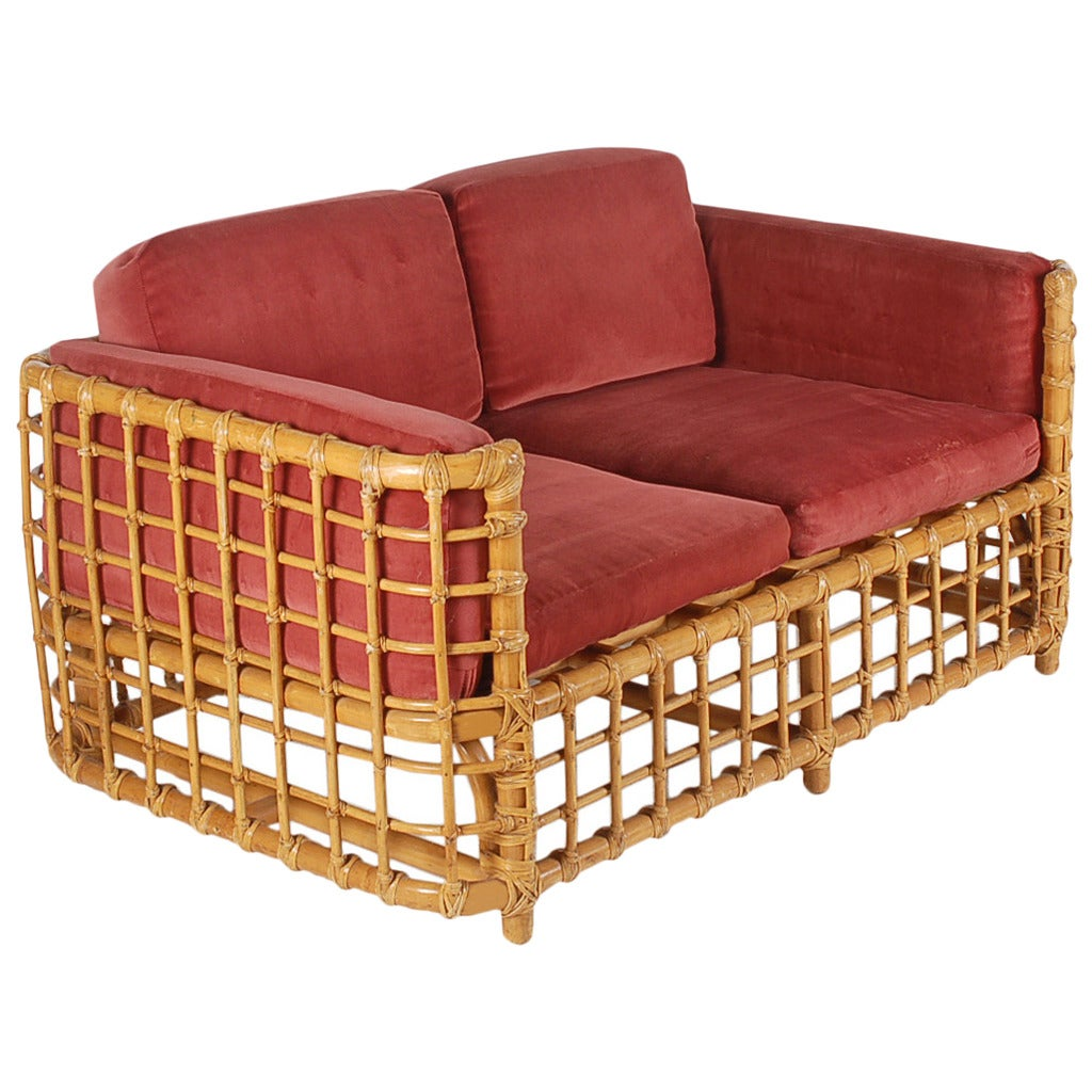 vintage rattan settee or sofa in the manner of franco albini at 1stdibs. Black Bedroom Furniture Sets. Home Design Ideas