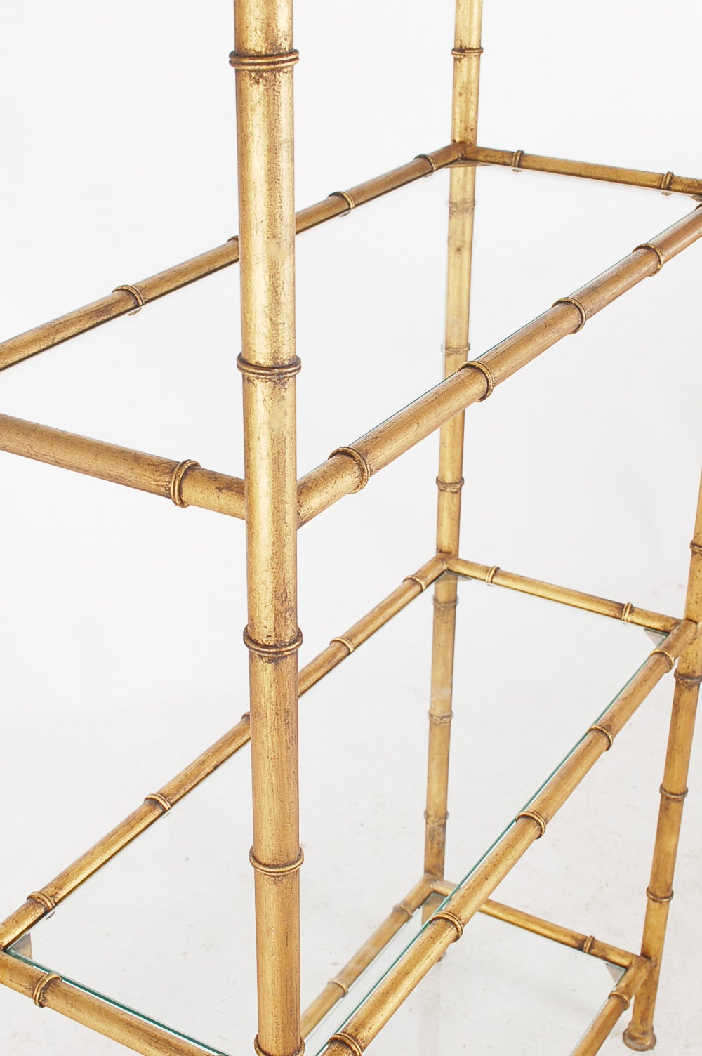 hollywood regency gold gilded faux bamboo etagere at 1stdibs. Black Bedroom Furniture Sets. Home Design Ideas