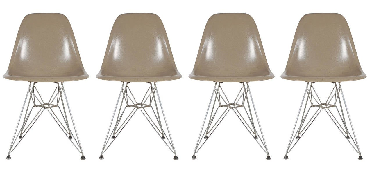 Herman miller dining chairs - Eames Teak Dining Table Dtm And Eiffel Chairs Dsr Set For Herman