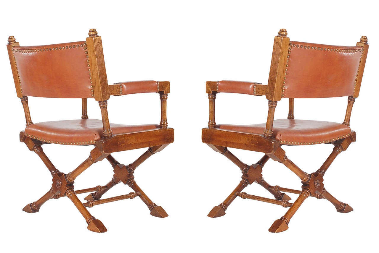 Directoire Vintage Leather Campaign Or Director Chairs For Sale