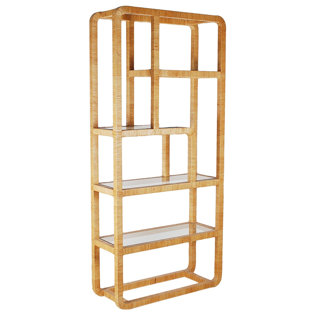 Vintage Rattan Etagere After Milo Baughman Or Franco