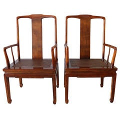 Pair of Asian Influenced Caned Armchairs