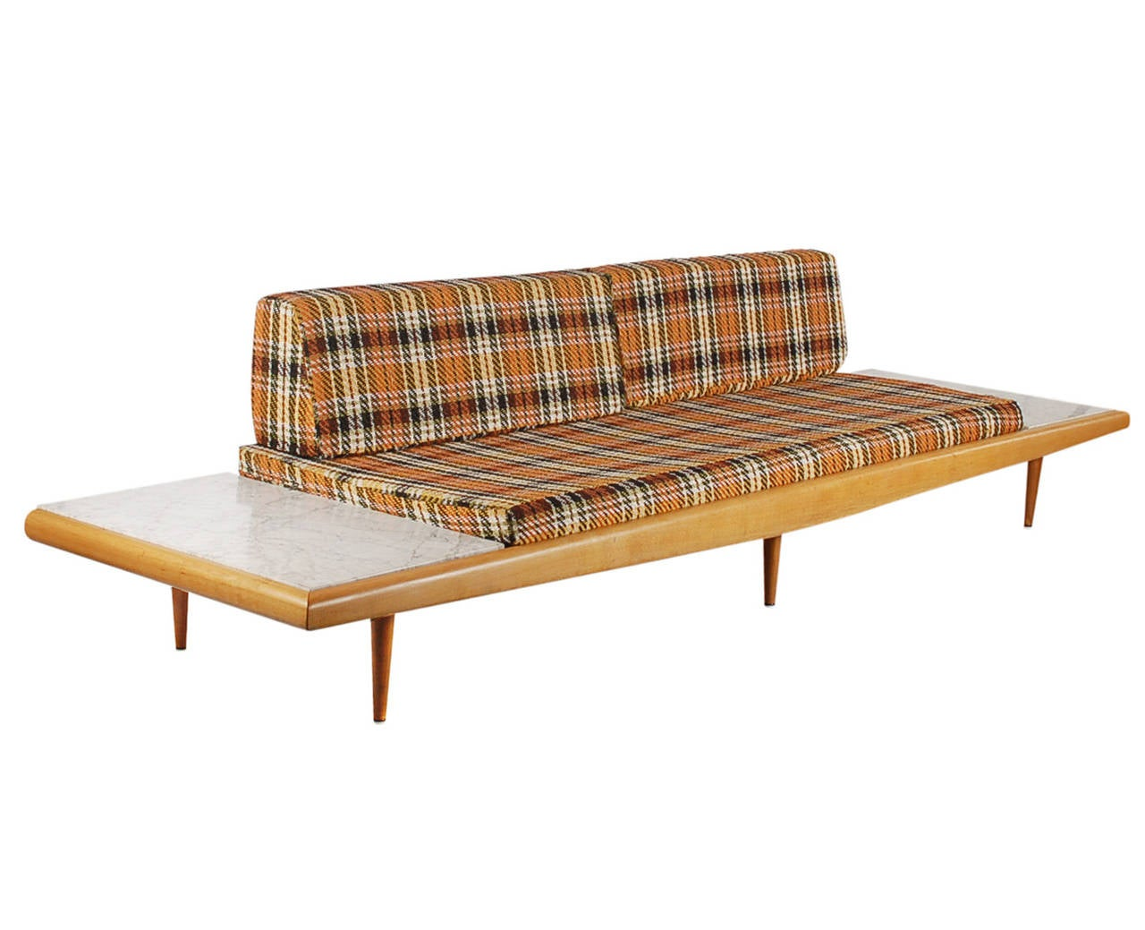 Adrian pearsall sofa with marble end tables at 1stdibs for Sofa end tables