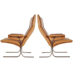 De Sede Leather and Chrome Lounge Chairs by Hans Eichenberger