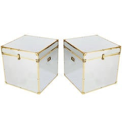 Vintage Chrome and Brass Storage Trunks After Maison Jansen