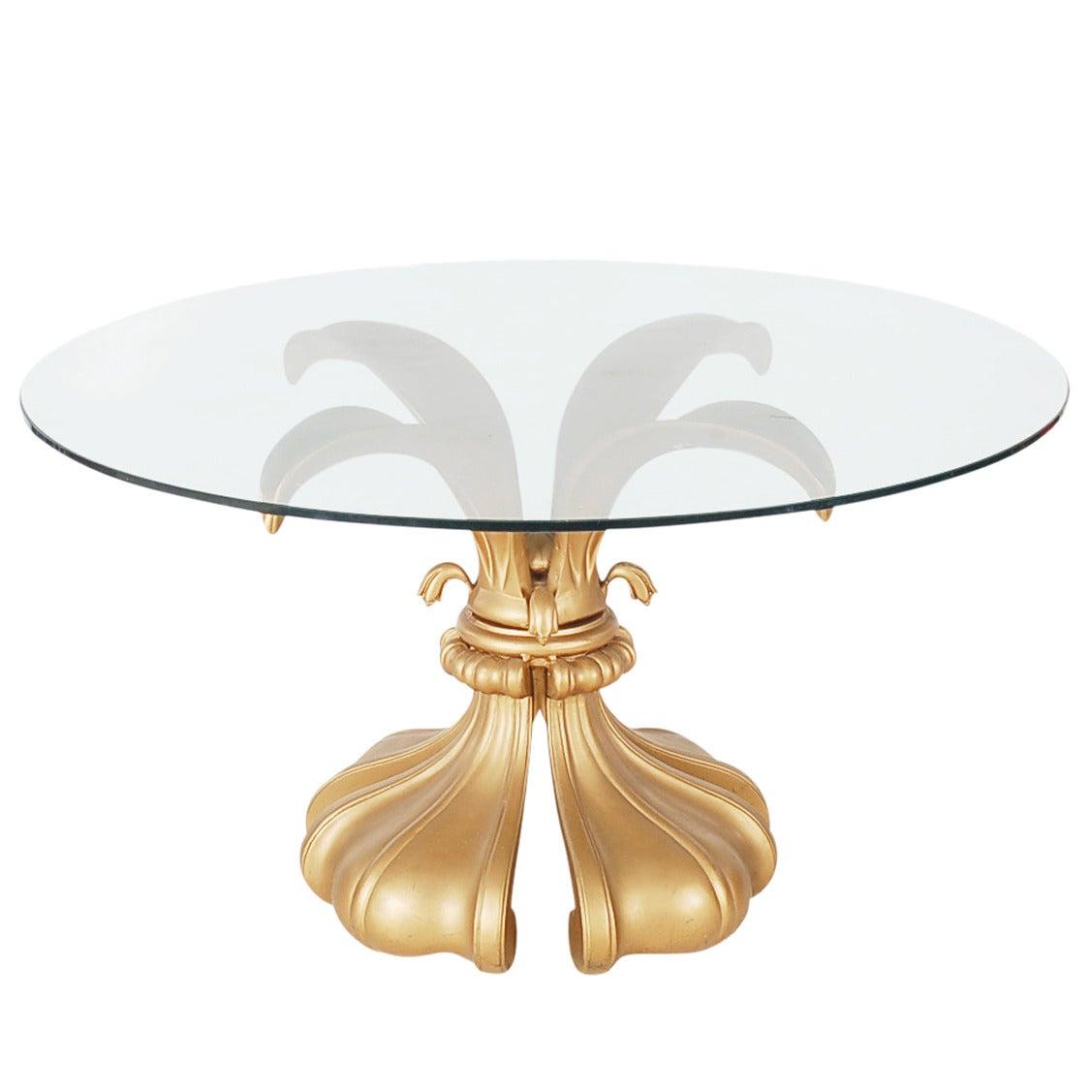 Hollywood Regency Fleur-de-Lis Glass Center Table