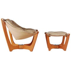 Scandinavian Leather Sling Lounge Chair and Ottoman