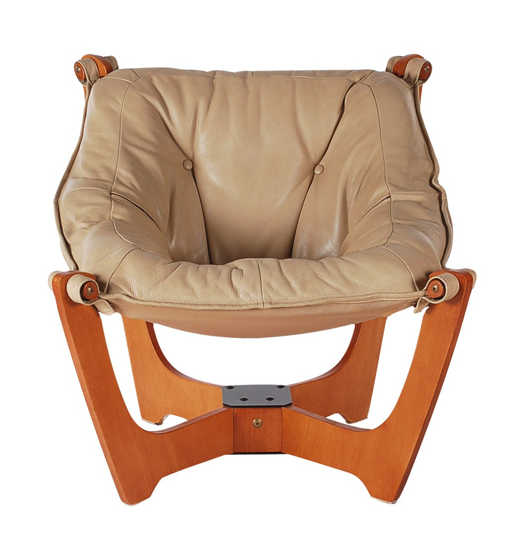 Scandinavian Leather Sling Lounge Chair And Ottoman At 1stdibs