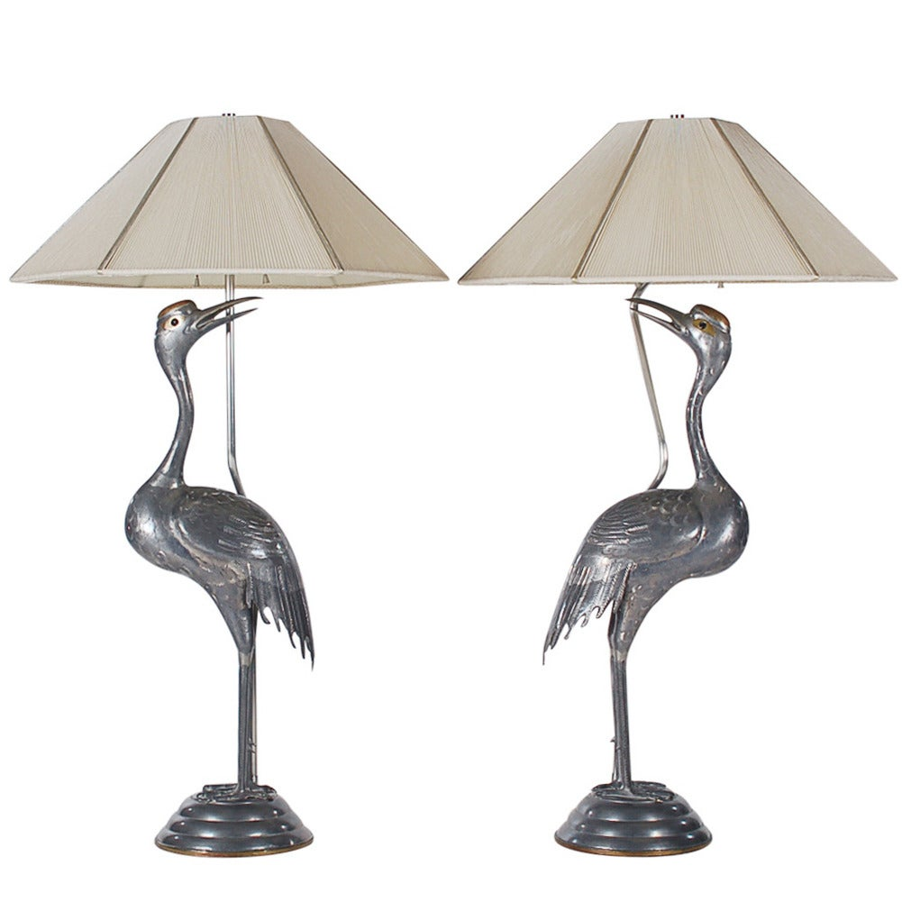 Art deco brass and pewter heron table lamps attributed to sergio art deco brass and pewter heron table lamps attributed to sergio bustamante for sale aloadofball Image collections
