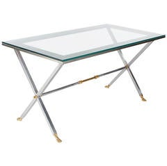 Italian Steel and Brass X Base Desk or Dining Table After Maison Jansen