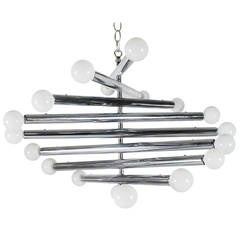 Mid-Century Modern Chrome Spiral Sputnik Chandelier after Sciolari