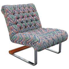 Tufted Flamestitch Chair with Chrome and Wood Base