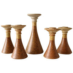 Suite of Five Studio Pottery Candlesticks