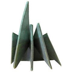 Geometric Turquoise Blue Ceramic Table Sculpture