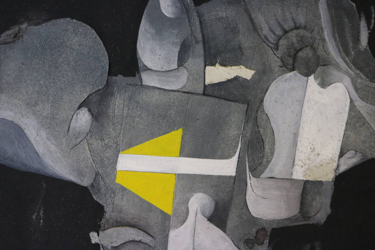 Modern Black White Grey And Yellow Abstract Painting By Desmond Mcclean For
