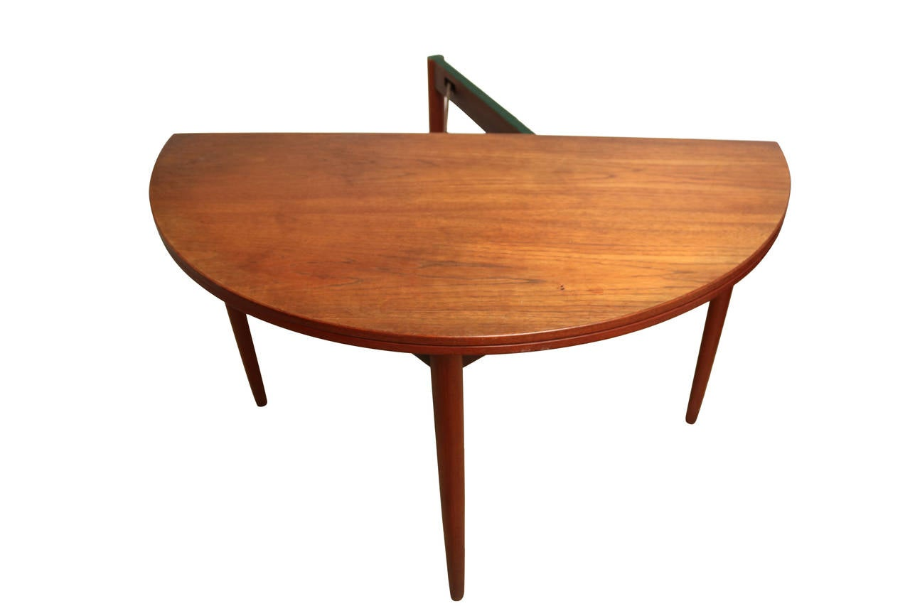 round teak folding dining table and chairs by poul volther