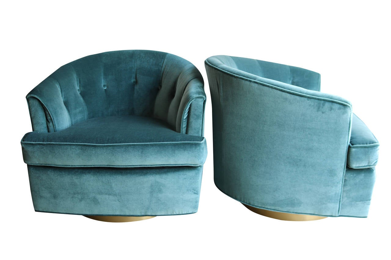 Pair Of Luxurious Velvet Club Chairs On Brushed Brass