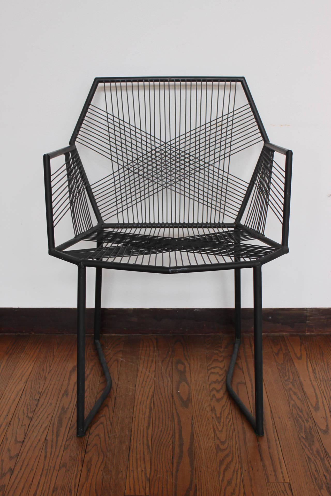 Hand Welded Geometric Metal Armchairs at 1stdibs
