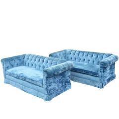 Pair of Petite Blue Tufted Velvet Chesterfield Sofas