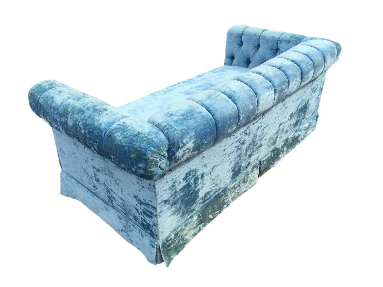 Pair Of Petite Blue Tufted Velvet Chesterfield Sofas At