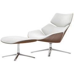 COR Shrimp Swivel Lounge Chair and Ottoman in Fabric or Leather with Wooden Back