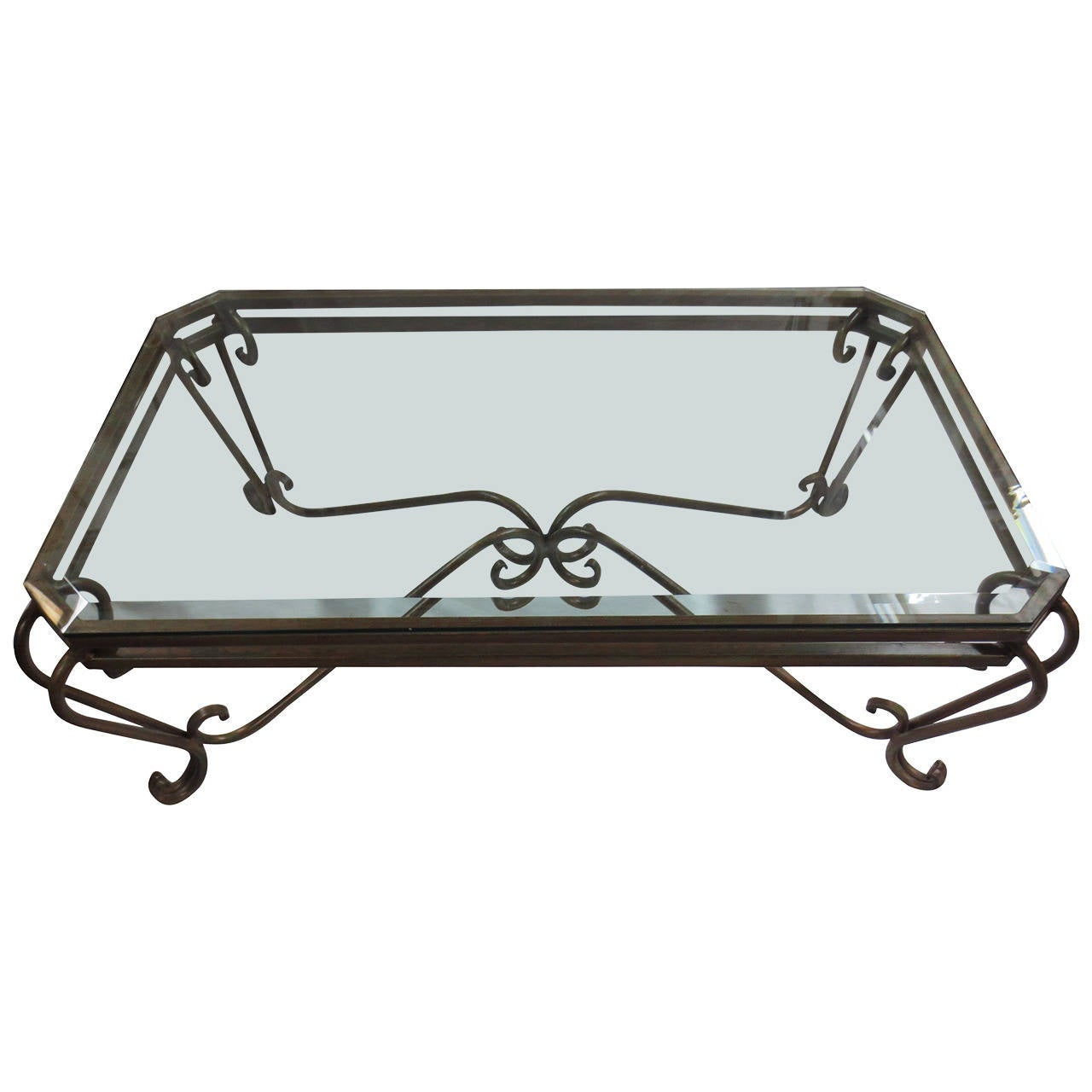 Hollywood Glam Wrought Iron And Glass Coffee Table At 1stdibs