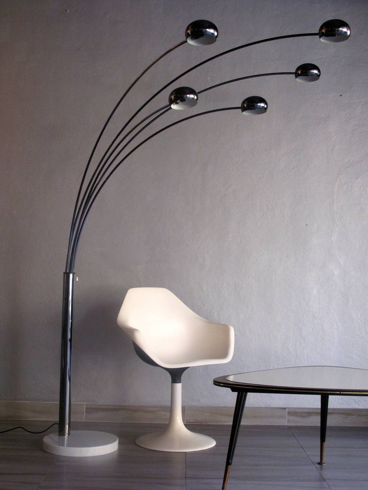 danish 1960s five arm arc floor lamp for sale at 1stdibs. Black Bedroom Furniture Sets. Home Design Ideas
