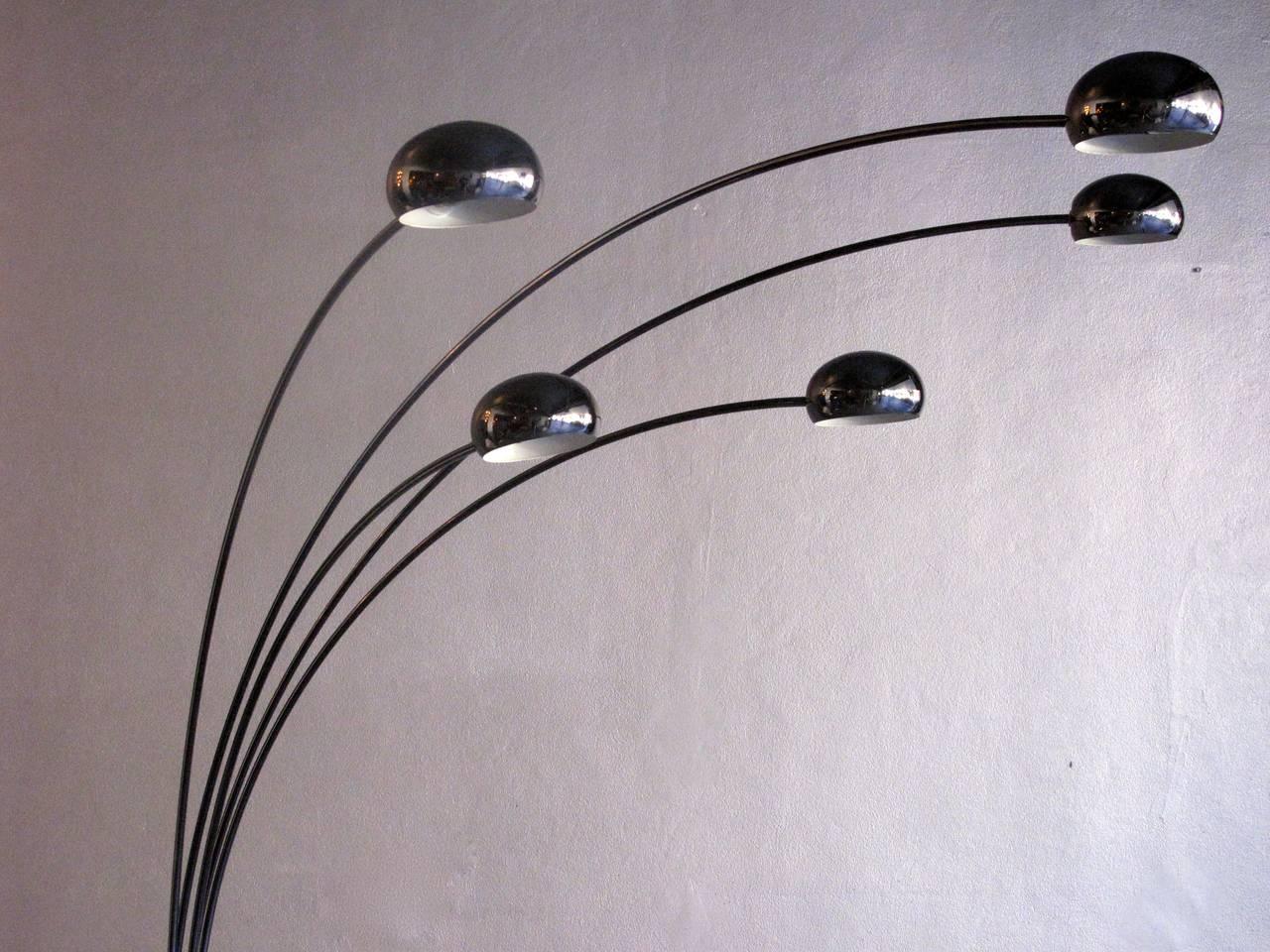 Danish 1960s Five Arm Arc Floor Lamp For Sale At 1stdibs