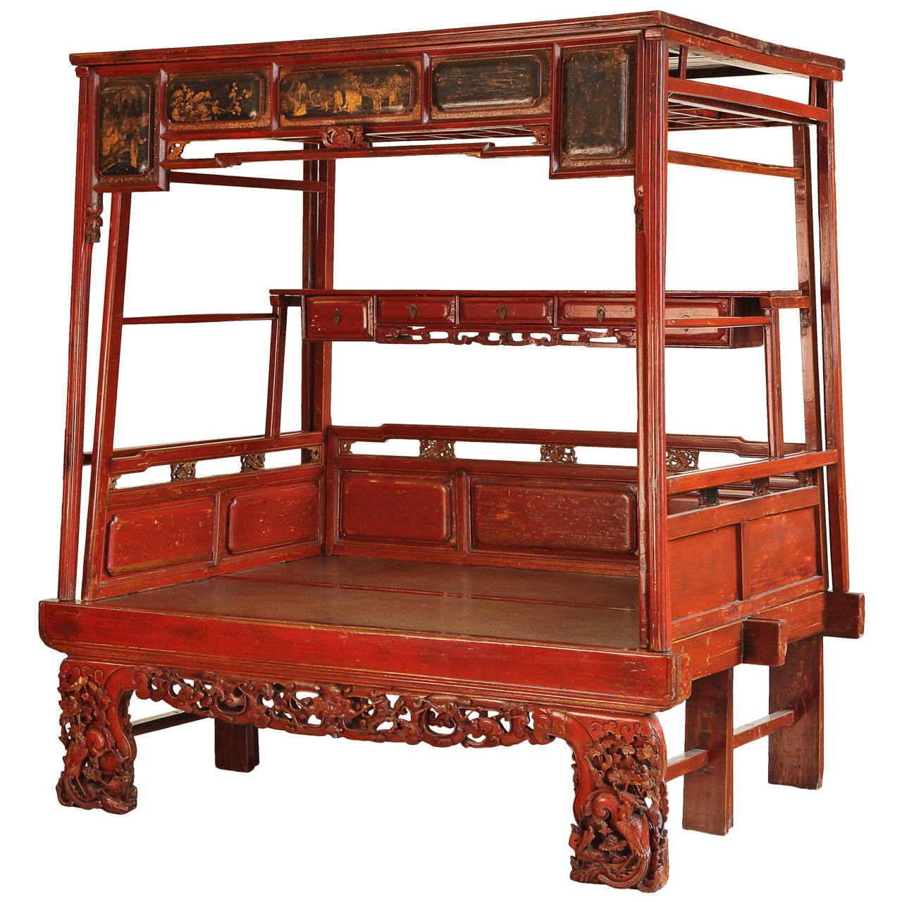 Antique Carved And Lacquered Chinese Canopy Bed Qing Dynasty At