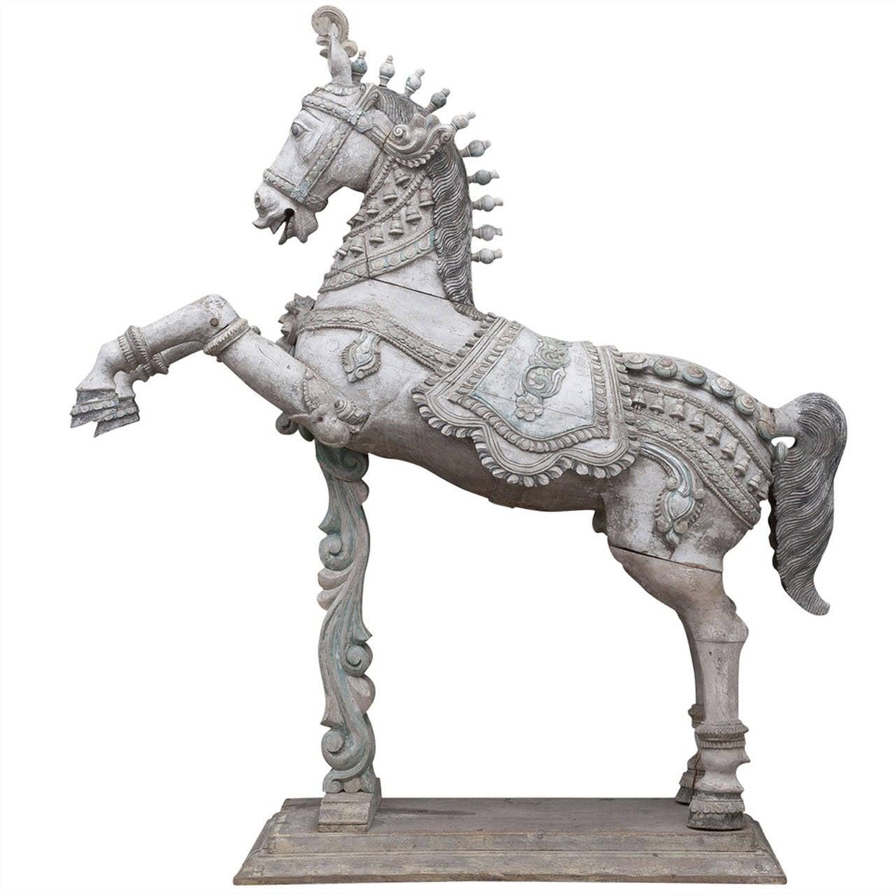 Indian Carved Horse Sculpture At 1stdibs