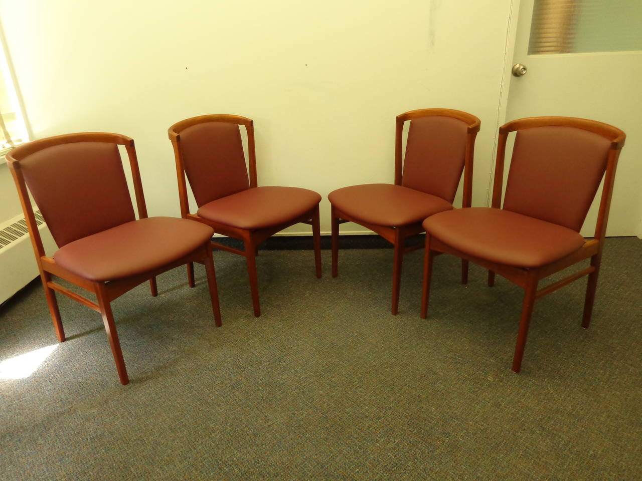 Mid-Century Modern Erik Buch Set of Four Teak Dining Chairs Reupholstered in Leather For Sale