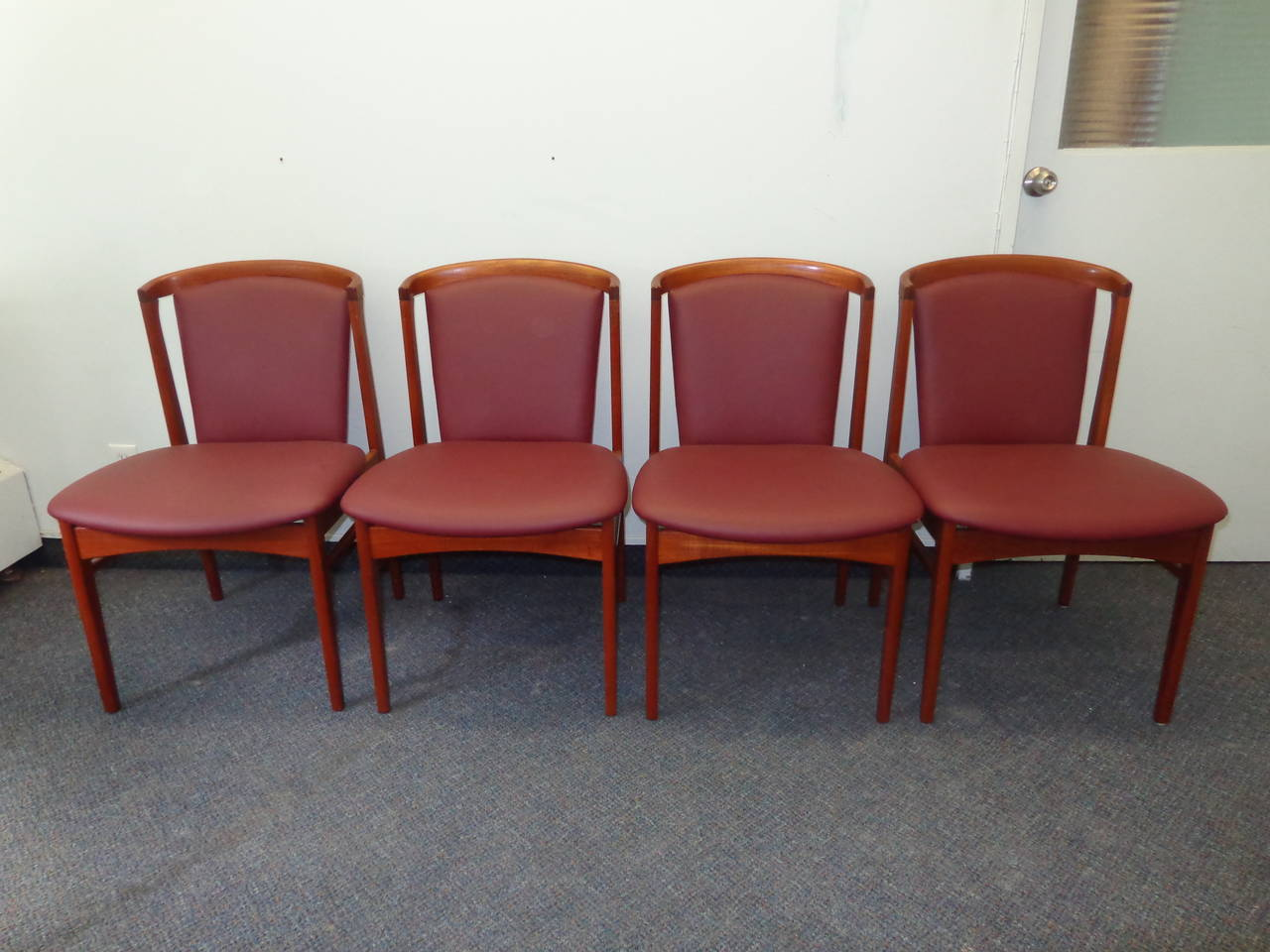Danish Erik Buch Set of Four Teak Dining Chairs Reupholstered in Leather For Sale