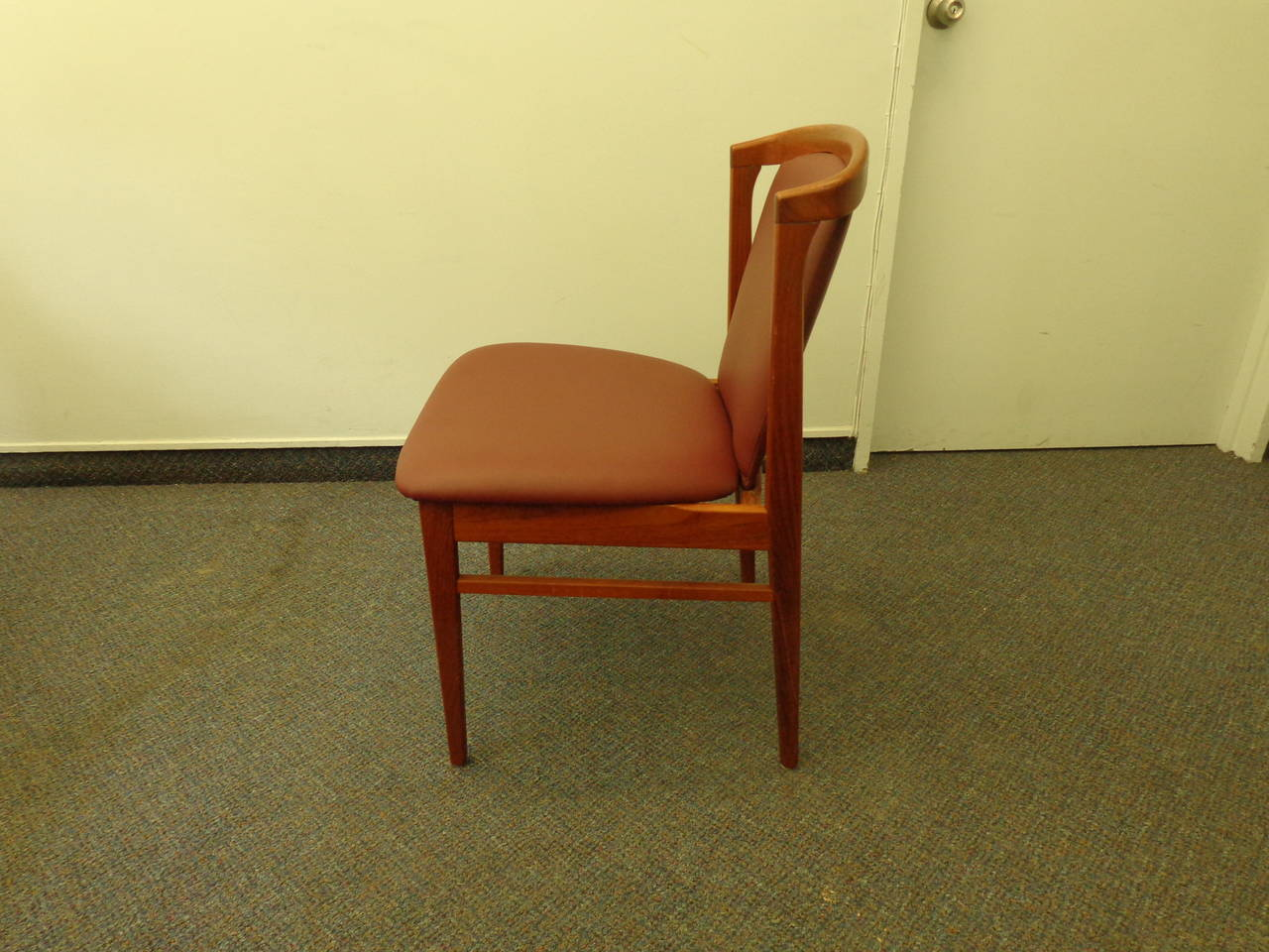Mid-20th Century Erik Buch Set of Four Teak Dining Chairs Reupholstered in Leather For Sale