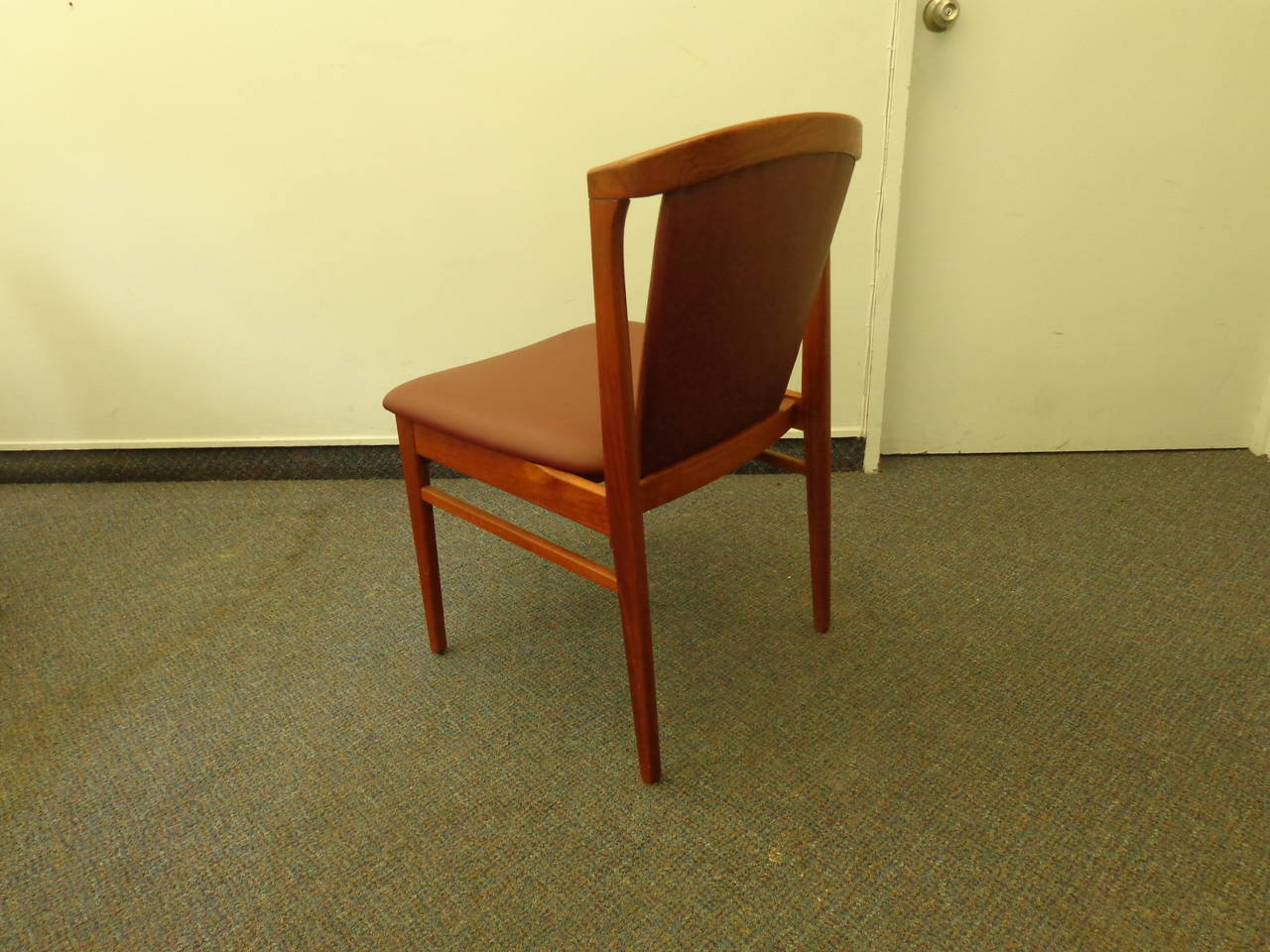 Erik Buch Set of Four Teak Dining Chairs Reupholstered in Leather For Sale 1