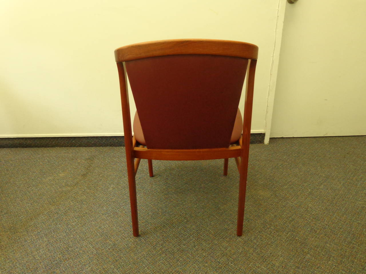 Erik Buch Set Of Four Teak Dining Chairs Reupholstered In Leather For