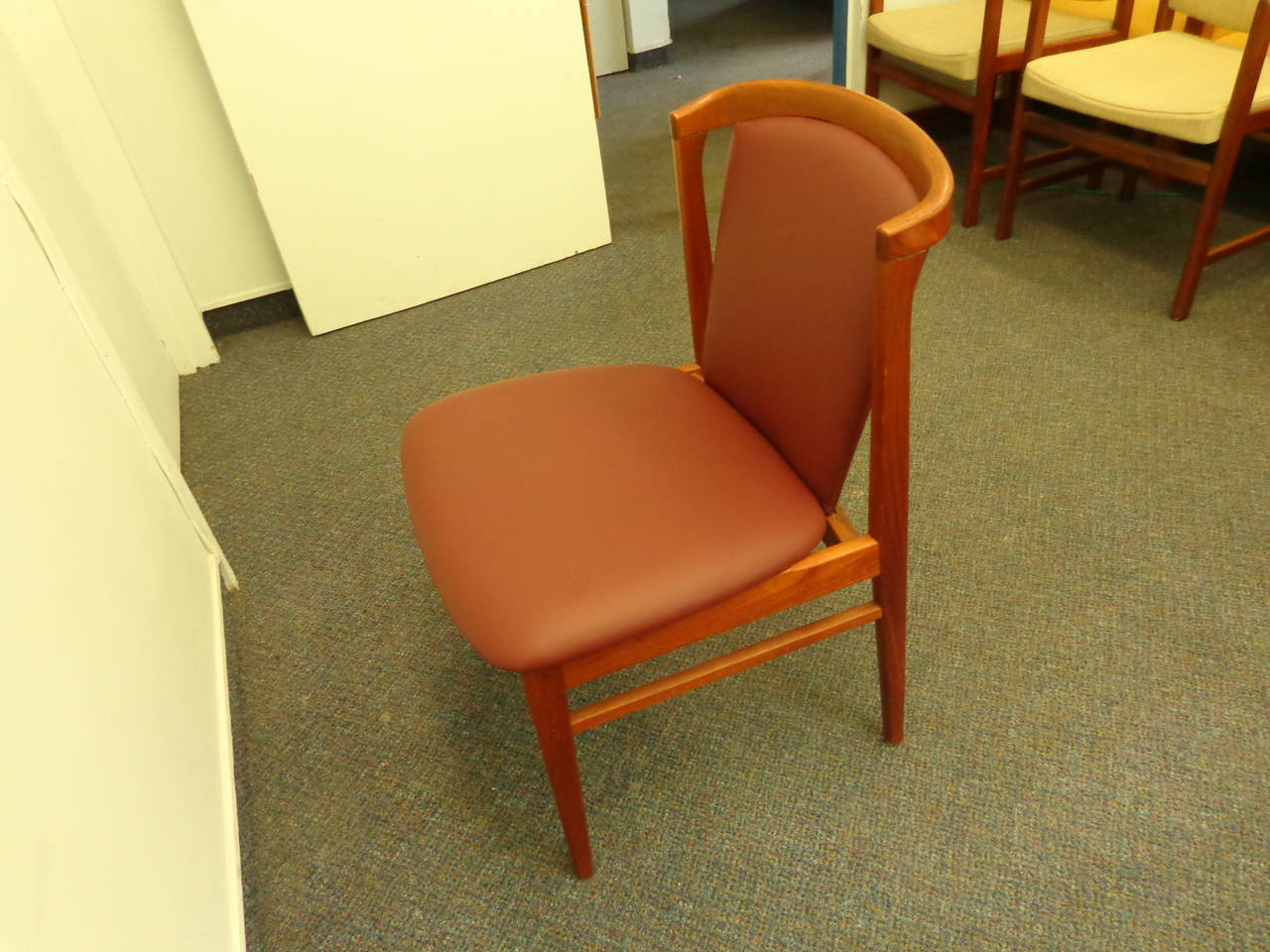 Erik Buch Set of Four Teak Dining Chairs Reupholstered in Leather For Sale 4
