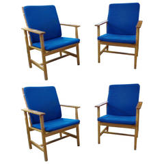 Børge Mogensen Oak Armchairs with Original Blue Wool Upholstery, Model 2257