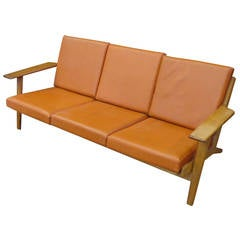 Hans J Wegner GE-290 Sofa with Leather Upholstery