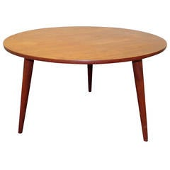 Hans J. Wegner Circular Teak Coffee Table with Three Tapered Legs