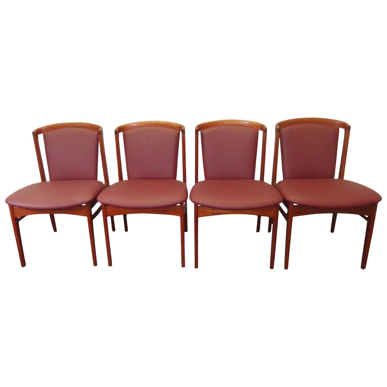 Erik Buch Set of Four Teak Dining Chairs Reupholstered in Leather For Sale