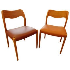Niels O. Moller, 11 Model 71 Teak Dining Chairs with Leather