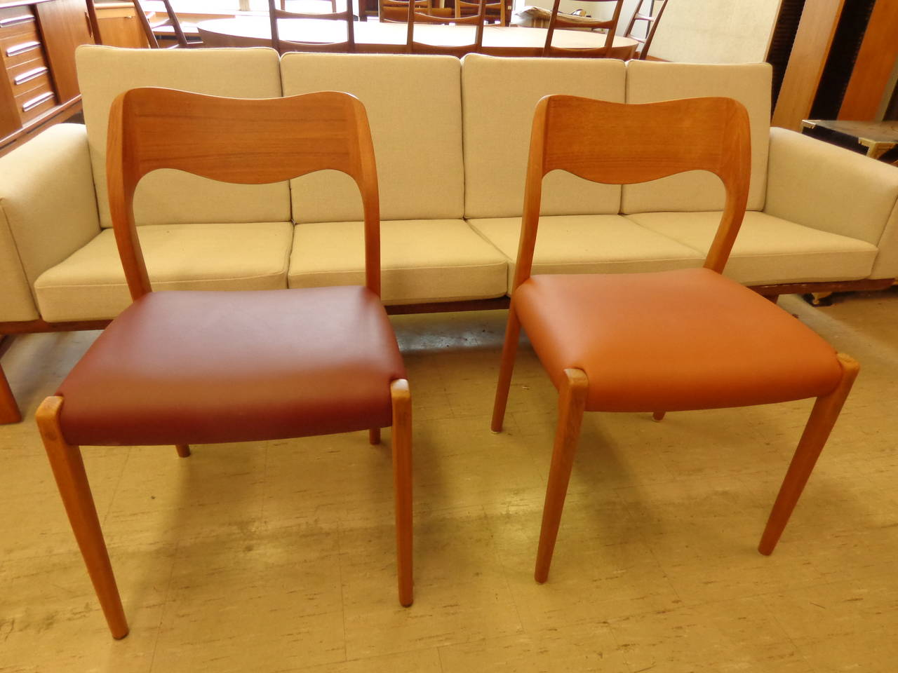 niels o moller 11 model 71 teak dining chairs with leather for